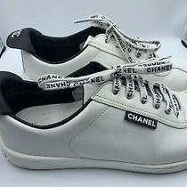 Chanel White Leather Lace Up Weekend Sneakers Size 40.5 Photo