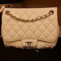 Chanel White Quilted Lambskin Black Paint Shoulder Bag Photo