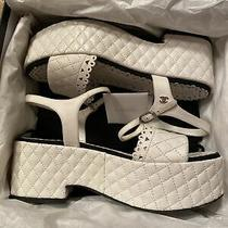 Chanel White Quilted Laser Cut Leather Platform Sandals Size 39.5 New in Box  Photo