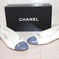Chanel Women's Shoes Flats Ivory White & Gray Size 8 Us 38 Eur Photo