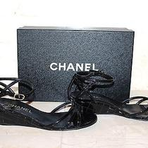 Chanel Women's Shoes Sandals Black Patent Leather Wedge  Size  8 Us 38 Eur  Photo