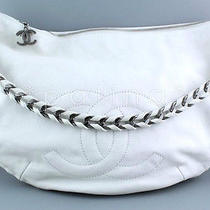 Chanel Xl White Luxury Modern Chain Hobo Shopper Bag Photo