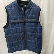 Chaps by Ralph Lauren Men's Medium Blue Plaid Outerwear Vest Drawstring Photo