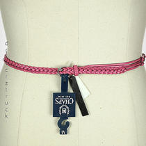 Chaps by Ralph Lauren X-Large Hibiscus Pink Genuine Leather Belt Braided Strands Photo