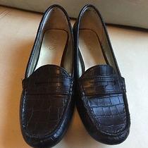 Chaps Penny Loafers Womens Size 7b Cerra Black Faux Croc Loafer Shoes Flats Euc Photo