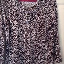 Chaps Ralph Lauren Cotton Top 3x Fluted Ruffle Animal Print  Photo