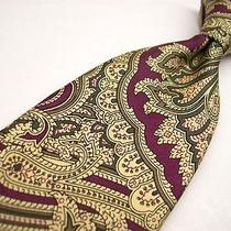 Chaps Ralph Lauren  Maroon/gold /art Nouveau Silk Tie Photo