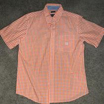 Chaps Ralph Lauren Men's Orange Plaid Button Down Short Sleeve Shirt Size M Photo