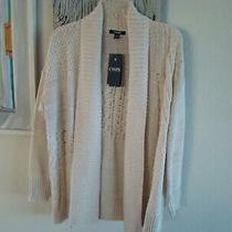 Chaps Ralph Lauren Women's Knit Cardigan Sweater Sz M Ivory Pink Blush Nwt 89 Photo