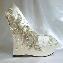 Charisma Wedge Wedding Shoes Satin and Crystal Extr High Wedge Us Sz 8/ 8.5 Photo