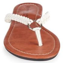 Charles Albert Women's Braided Thong Flip With Decorative Ring Size 7 White Photo