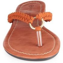 Charles Albert Women's Braided Thong Flip With Decorative Ring Size 7 Tan Photo