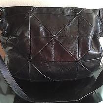 Charles David Large Black Glazed Leather Hobo Handbag Shoulder Bag Purse Photo