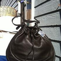 Charles David Pebbled Leather Hobo Bag Dark Brown Medium Photo