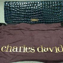 Charles David Purse Croc Green With Rich Blue Lining Evening Bag Photo