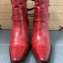 Charlie Horse Women's Lucchese  Red Leather Ankle Booties Zip Cowgirl Heels Sz 7 Photo