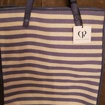 Charlotte Ronson Convertible Striped Blue White Fabric & Leather Backpack Tote  Photo
