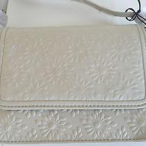 Charlotte Ronson Ditsy Daisy Shoulder Crossbody Hand Bag Purse Leather Grey Nwt Photo