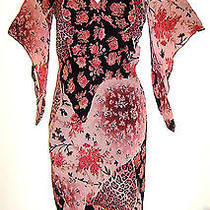Charlotte Russ 100% Rayon Mauve Print Lined Summer Dress Size S - Preowned Photo
