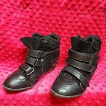 Charlotte Russe Black Spike Wedge Heel Sneakers Women's Size 8 Shoes Photo