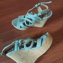 Charlotte Russe Blue High Heel Wedges Size 6 Photo