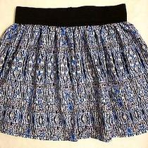 Charlotte Russe Blue Paisley Wide Elastic Waist Boho Summer Pleated Mini Skirt M Photo