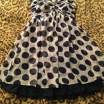Charlotte Russe Blue Polka Dot Strapless Party Dress - Size 9/10 - Cocktail Photo