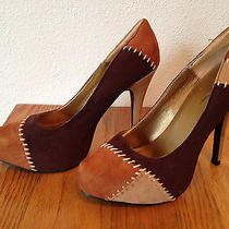 Charlotte Russe Browns Tan & Orange Patch Work Suede Heels Size 7  Photo