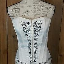 Charlotte Russe Corset White With Black Detail Size L Front Hook Loops Back Lace Photo