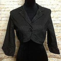Charlotte Russe Cropped Blazer Crop Dress Suit Jacket Size L Pinstripe Career Photo