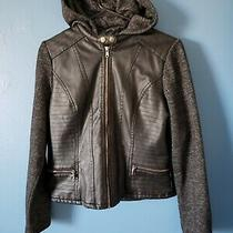 Charlotte Russe Faux Leather Hooded Bomber Jacket Women's Size Large Photo