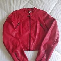 Charlotte Russe Faux Leather Red Jacket Sz Large Photo