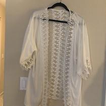 Charlotte Russe Floral Lace Shawl Cardigan White Photo