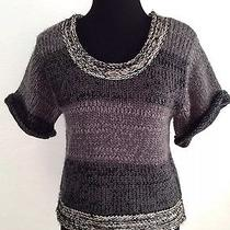 Charlotte Russe Gray Silver Short Sleeve Cable Knit Scoop Neck Sweater Sz Small Photo