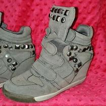 Charlotte Russe Grey & Silver Studs Hidden Wedge Sneakers Women's Size 8 Shoes Photo