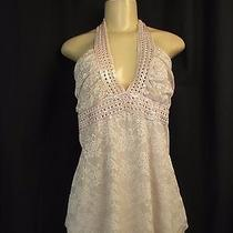 Charlotte Russe Halter Blush Floral Lace Crochet Sexy Fun Club Chic Urban Top L Photo