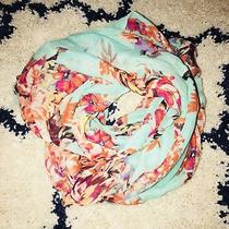 Charlotte Russe Mint Floral Large Infinity Scarf Headscarf Lighty Worn Photo