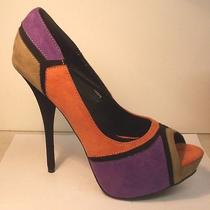 Charlotte Russe Multi Color Patch Peep Toe Stiletto High Heel Platform Size 8 Photo