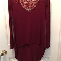 Charlotte Russe Nwot Medium Burgandy High/low Top With Lace Photo