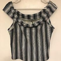 Charlotte Russe Off the Shoulder Black & White Crop Top  Size Xl Photo