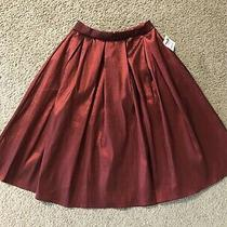 Charlotte Russe Pleated Colorful Skirt Sz Snew With Tagsburgundy Shiny Photo