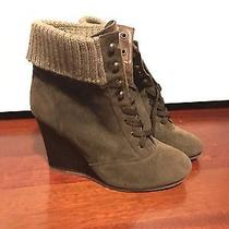 Charlotte Russe Wedge Booties Shoes Heels Boho Hipster Brown Lace Up F21 Aldo Photo