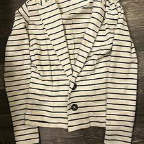 Charlotte Russe White and Black Striped Blazer Size Medium Photo