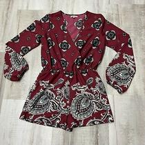 Charlotte Russewomen Romper Small Red  Black v Neck Long Sleeve Shorts Paisley Photo
