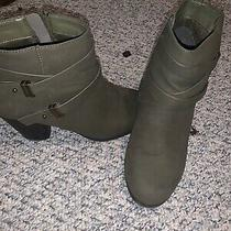 Charlotte Russe Women's 'Kellen' Belted Ankle Green Khaki Booties  -  Size 9 Photo