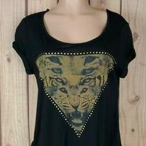 Charlotte Russe Womens Jr Size Medium Short Sleeve Shirt Tiger Face Black Top Photo