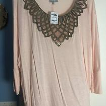 Charlotte Russe Womens Shirt Light Pink With Gold Around Neck Photo