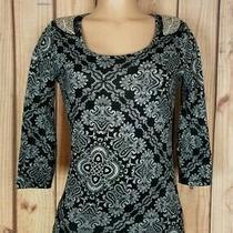 Charlotte Russe Womens Size Small 3/4 Sleeve Shirt Black/gray Beaded Geo Top Photo