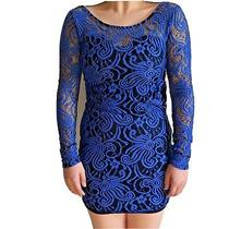 Charlotte Russe Womens Size Small Sz S  Dress Blue Bodycon Lace Long Sleeve  Photo