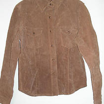 Charlottle Russe Brown Leather Suede Western Shirt Jacket Size Large Plus 10 12 Photo